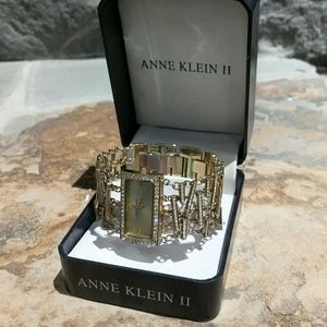 ANNE KLEIN Goldtone Crystal Mod Bracelet Watch